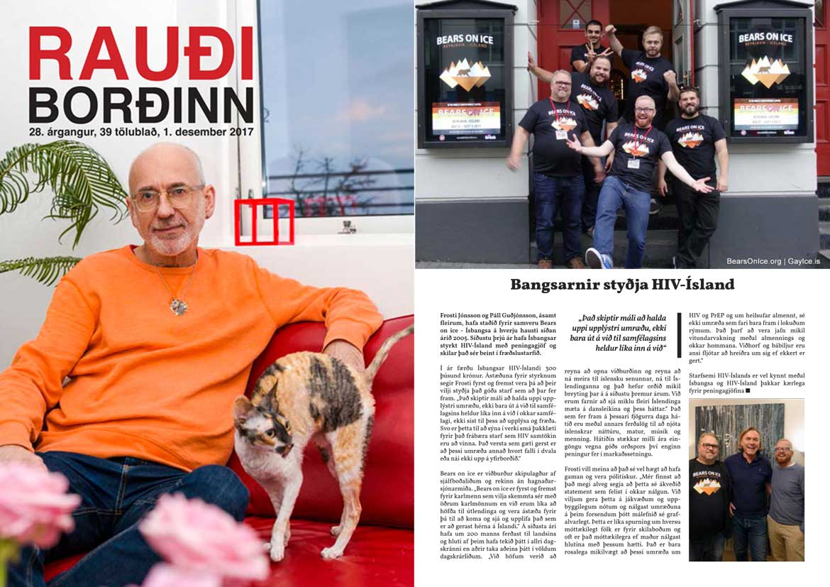 Bears on Ice article in HIV-Iceland's Red Ribbon newsletter